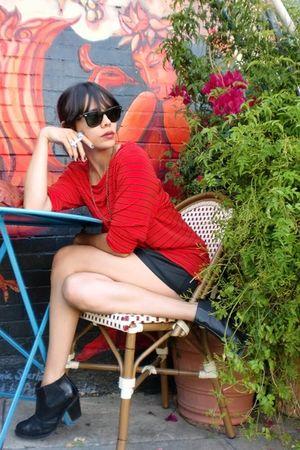 red vintage top - black vintage slip intimate - jeffrey campbell nation boots -