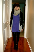 gray cardigan - black jacket - black shoes - purple dress - black leggings - gra
