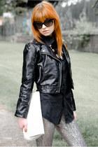 black faux leather H&M jacket - black mens vintage shirt - white vintage bag