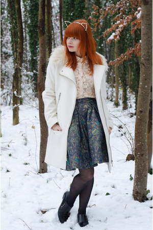 faux fur collar H&amp;M coat - lace Forever 21 shirt - jacquard DIY skirt