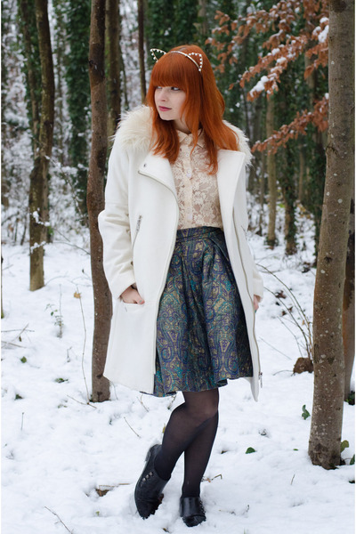 faux fur collar H&M coat - lace Forever 21 shirt - jacquard DIY skirt
