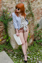 white vintage bag - periwinkle peplum FRAY ID jacket