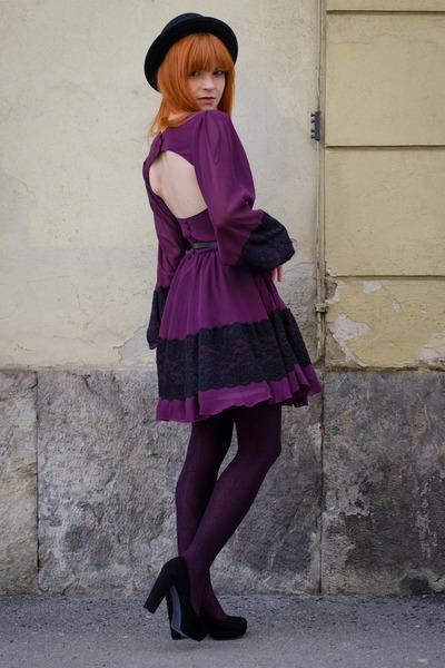 purple cutout back RARE dress - black menswear Bailey Of Hollywood hat