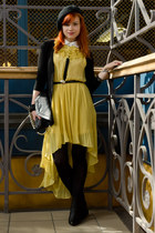 black beret H&M hat - yellow high low CiCi London dress