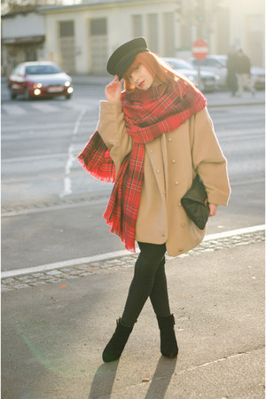 plaid H&M scarf - oversized MiiA coat - sailor Elbsegler hat