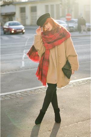 plaid H&M scarf - oversized MiiA coat - sailor Elbsegler hat