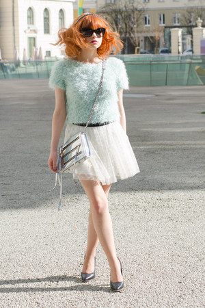aquamarine fluffy Topshop sweater - silver holographic Rebecca Minkoff bag