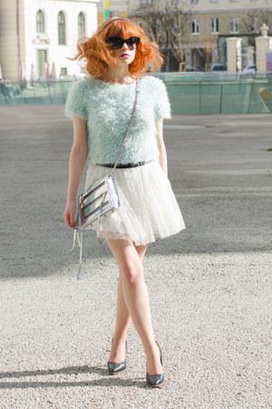 aquamarine fluffy Topshop sweater - silver holographic Rebecca Minkoff bag
