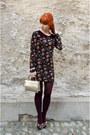 Black-floral-forever21-heels-black-nowistyle-dress