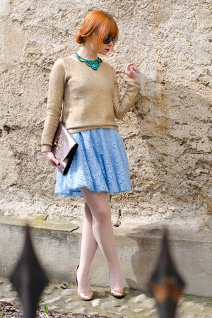 green Forever21 necklace - sky blue lace DIY dress - gold metallic H&M sweater