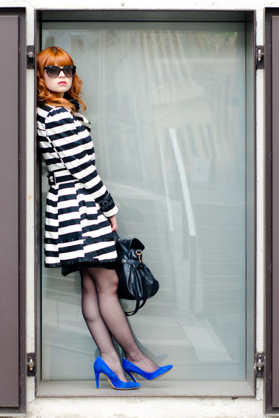 white striped Primark coat - black New Yorker bag - black dior sunglasses