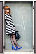 white striped Primark coat - black New Yorker bag - black dior sunglasses