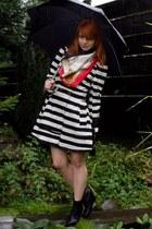 black striped Primark coat - black wedge H&M boots