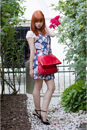nowIStyle bag - floral MiiA dress - spiked Zara heels