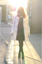 faux shearling next coat - wedge H&M boots - sequin Mimi Chica dress