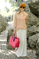 ivory palazzo moussy pants - salmon nowIStyle shirt - hot pink nowIStyle bag