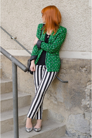 green geo pattern Primark blazer - black christian dior sunglasses