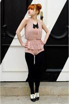 black opaque falke tights - black jewel collar H&M accessories
