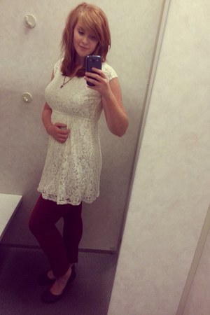 white lace Mossimo dress - crimson skinny denim Mossimo jeans - dark brown flats