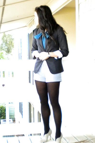 gray BCBG blazer - gray shorts - black tights - beige Colin Stuart shoes - blue