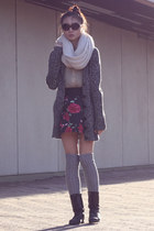 cream circle scarf - dark brown boots - silver socks - black skirt