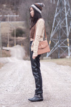 black leather pants - brown Forever 21 hat - bronze asos bag