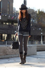 Dark-brown-boots-gray-hat-gray-tights-navy-tommy-hilfiger-cardigan