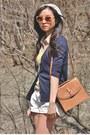Yellow-top-brown-asos-bag-white-shorts-red-heels