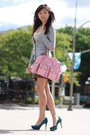 Pink-bag-brown-h-m-skirt-heather-gray-h-m-cardigan-teal-guess-pumps