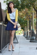 yellow cardigan - light blue top - navy polka dot Forever 21 skirt