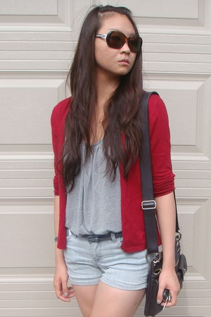 ruby red cardigan - navy striped Forever 21 top