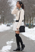 ivory lace Forever 21 skirt - light pink Forever 21 sweater - black socks