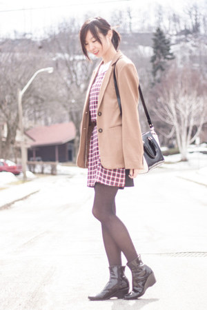ruby red plaid Sheinside dress - tan le chateau blazer - black Tacicco bag