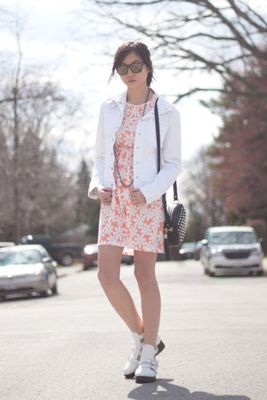 white AmiClubWear shoes - pink ami clubwear dress - white parasuco jacket