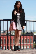 bubble gum bag - black H&M blazer - heather gray skirt - black heels