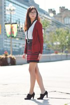 ruby red skirt - white contrast trim blouse - black heels