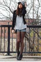 black Forever 21 cardigan - heather gray hat - periwinkle top - black heels