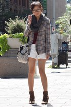 dark khaki tartan top - gray scarf - white shorts - brick red t-shirt