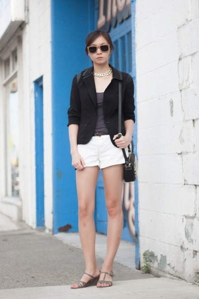 black blazer - white shorts