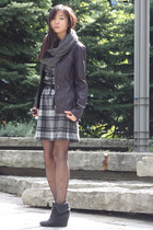 puce faux leather jacket - charcoal gray tartan Joe Fresh dress