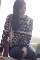 ivory Choies sweater - navy jeans - brown asos bag