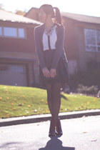 black leather skirt - ivory blouse - gray cardigan
