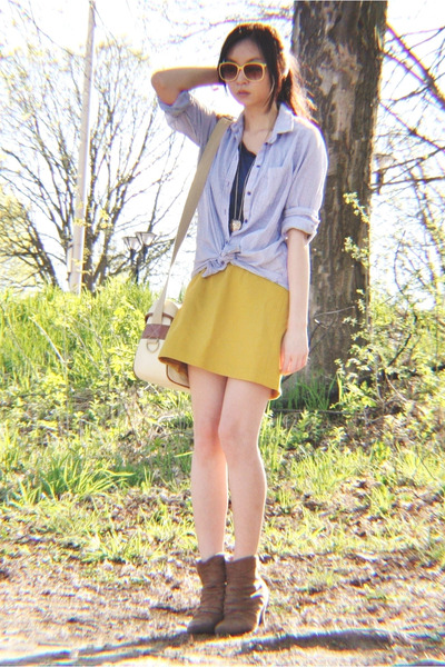 brown Forever 21 boots - light blue H&M blouse - mustard skirt