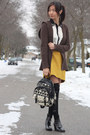 Black-socks-mustard-skirt-dark-brown-cardigan-white-blouse