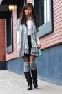Black-boots-aquamarine-bag-heather-gray-bcbg-cardigan-white-top