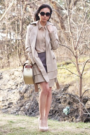 beige jacket - beige blouse - light brown H&M skirt - nude pumps