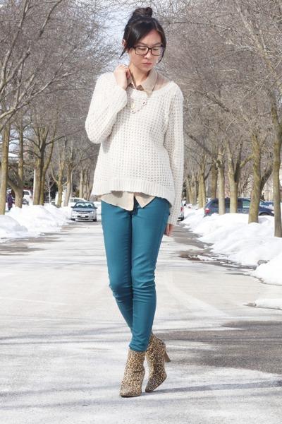 brown leopard heels - teal Joe Fresh jeans - ivory sweater