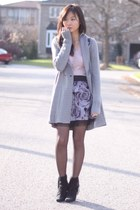 heather gray cardigan - light pink H&M sweater - black bow bag