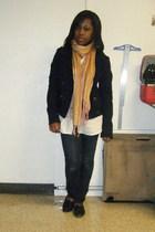 blue jacket - orange scarf - white blouse - blue jeans - black shoes - black pur