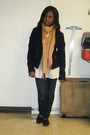 Blue-jacket-orange-scarf-white-blouse-blue-jeans-black-shoes-black-pur